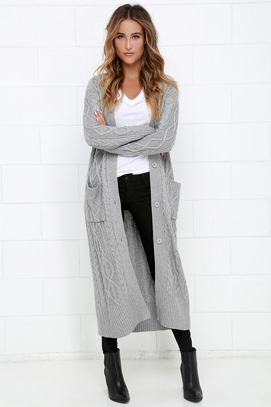 42838261d0ff Cozy Grey Sweater - Long Sweater - Cable Knit Sweater -  104.00