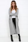 Cozy Grey Sweater Long Sweater Cable Knit Sweater 10400
