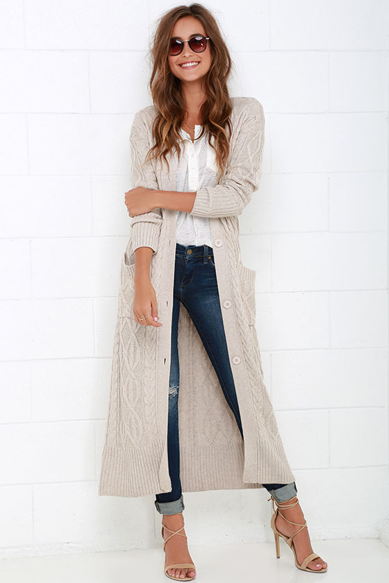 Cozy Beige Sweater - Long Sweater - Cable Knit Sweater - $104.00