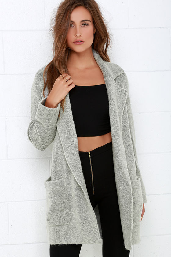 Grey Jacket - Oversized Sweater - Oversized Jacket - $82.00