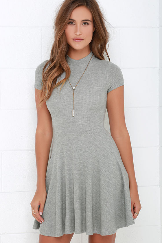 Grey Dress - Skater Dress - Fit-and-Flare Dress - Short Sleeve ...