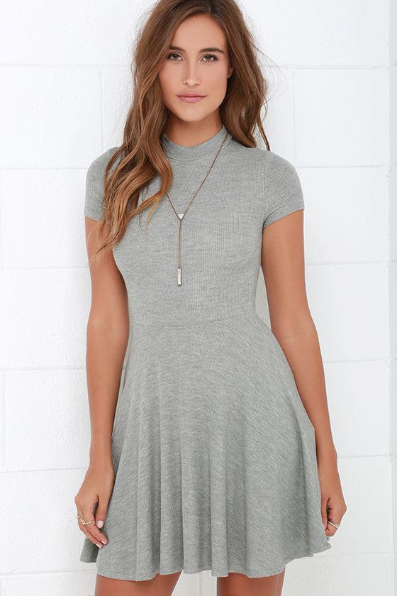 43ef3aeb169 Grey Dress - Skater Dress - Fit-and-Flare Dress - Short Sleeve Dress -   46.00