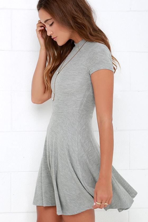 Grey Dress Skater Dress Fit And Flare Dress Short