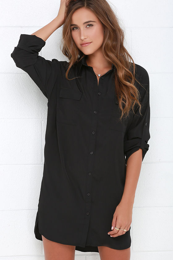 Black Dress - Shirt Dress - Long Sleeve Dress - Shift Dress - $45.00