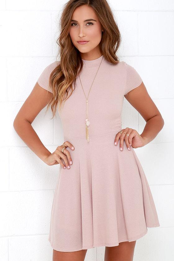 Blush Dress - Skater Dress - Fit-and-Flare Dress - Short Sleeve ...