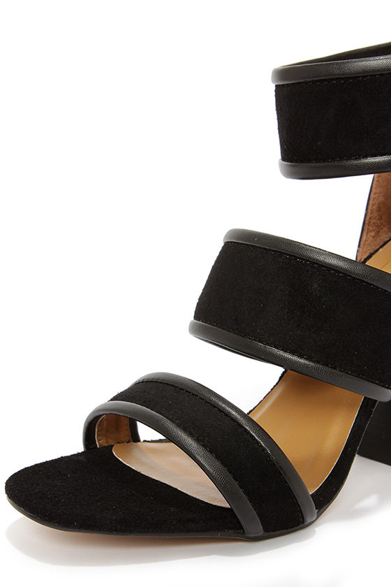 Report Signature Pammy Black Leather High Heel Sandals at Lulus.com!