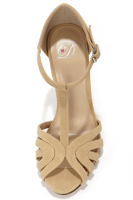 My Delicious Arky Beige Nubuck T Strap Dress Sandals at Lulus.com!