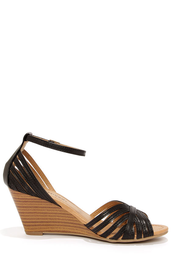 City Classified Ashley Black Strappy Peep Toe Wedge Sandals at Lulus.com!
