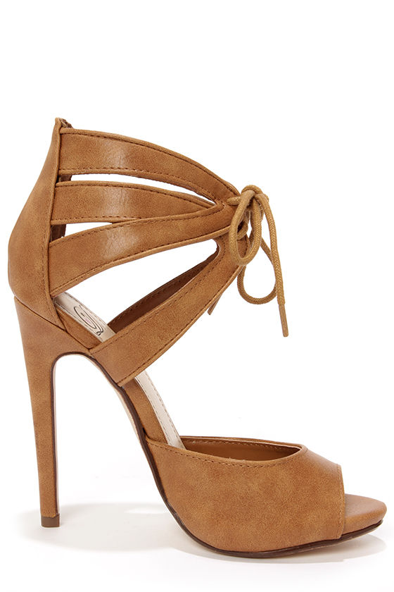 My Delicious Talbot Tan Lace-Up Peep Toe Heels at Lulus.com!
