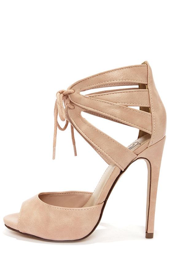 Cute Blush Heels - Lace-Up Heels - Peep Toe Heels - $27.00