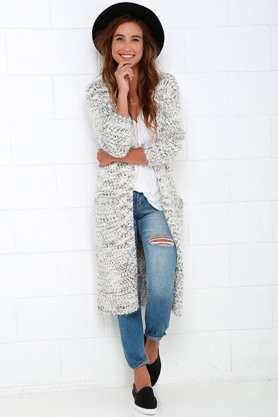 Grey and Ivory Sweater - Long Cardigan Sweater - $63.00