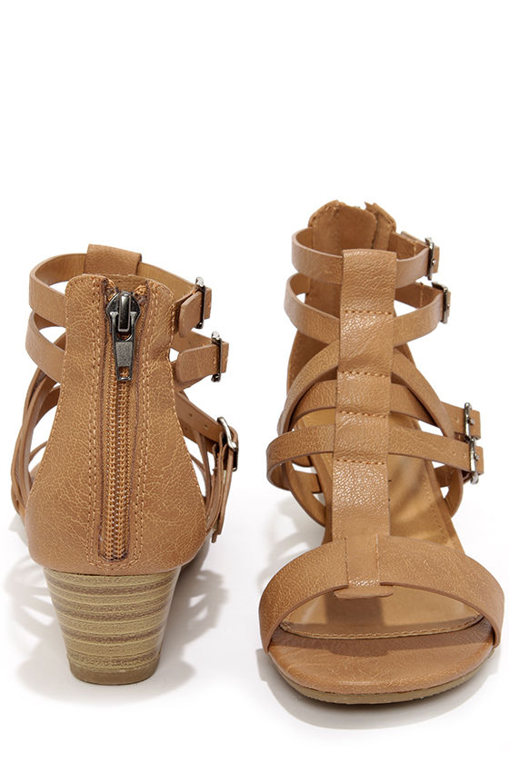 a3e20f92ba566 City Classified Lativ Tan Strappy Wedge Sandals