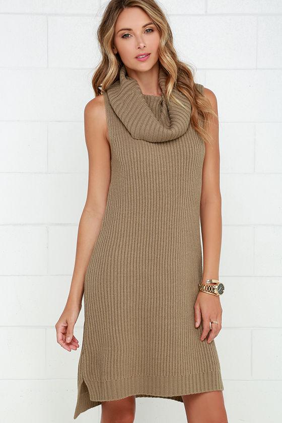 BB Dakota Marisa Dress - Sweater Dress - Light Brown Dress - $91.00