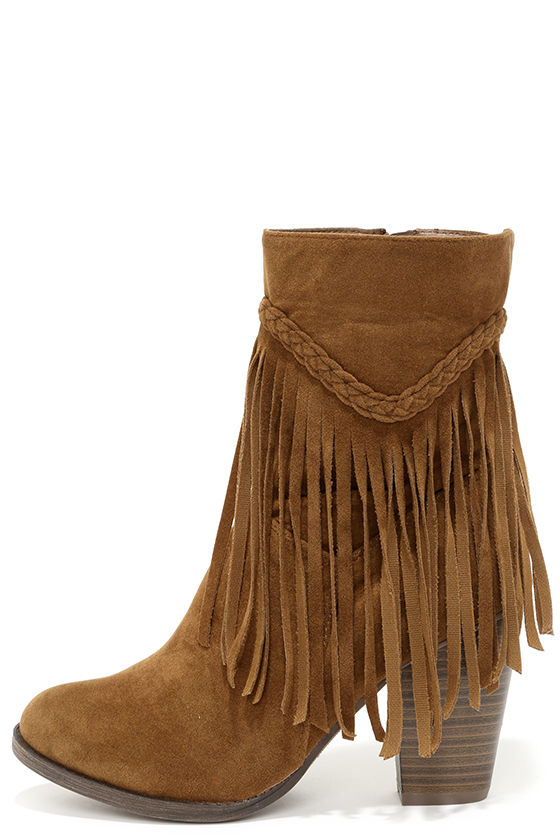 Cute Tan Boots - Mid-Calf Boots - Fringe Boots - Booties - $36.00