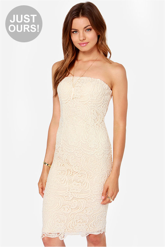 Pretty Lace Dress - Cream Dress - Strapless Dress - Midi Dress ...