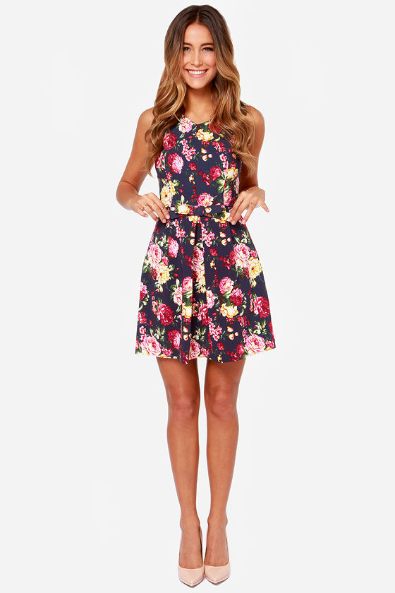 LULUS Exclusive Rose to Fame Navy Blue Floral Print Dress at Lulus.com!