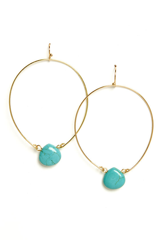 Stone Age Turquoise and Gold Hoop Earrings at Lulus.com!