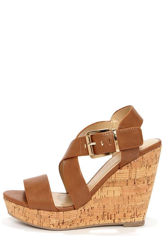 Lulus Belma Tan Leather Wedge Sandal Heels - Lulus f62QMskUPa