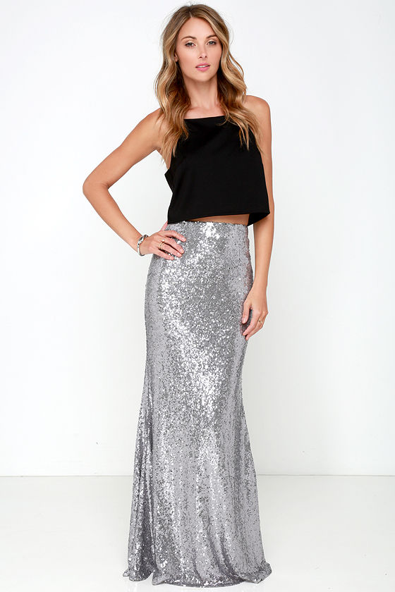 Silver Sequin Maxi Skirt