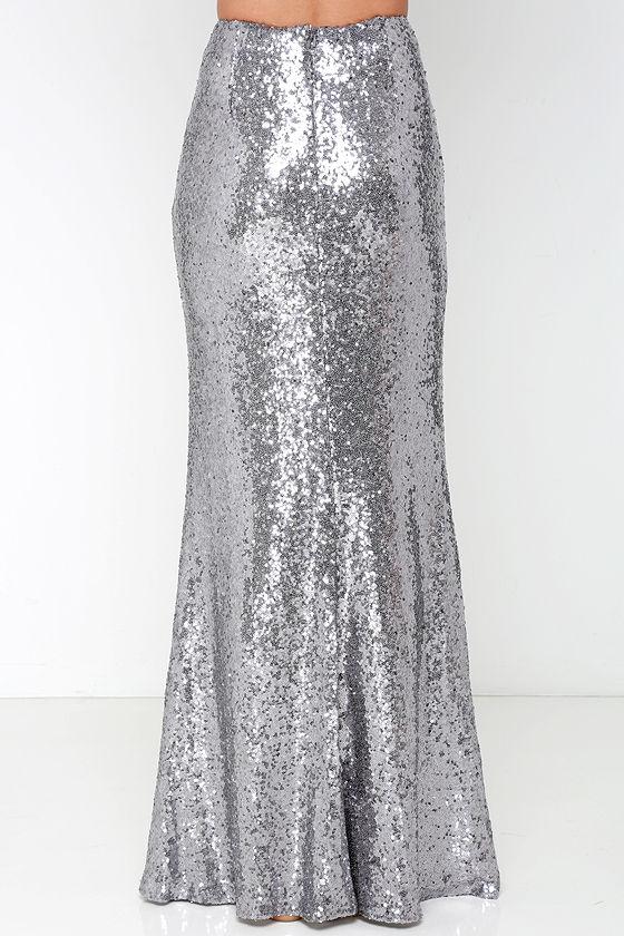 Sexy Silver Skirt - Sequin Skirt - Maxi Skirt - $93.00