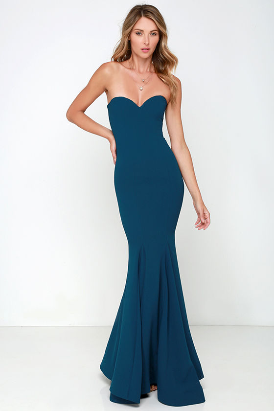 Chic Navy Blue Dress - Strapless Dress - Maxi Dress - $205.00