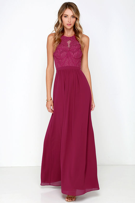 Berry Pink Gown Maxi Dress Bridesmaid Dress Prom