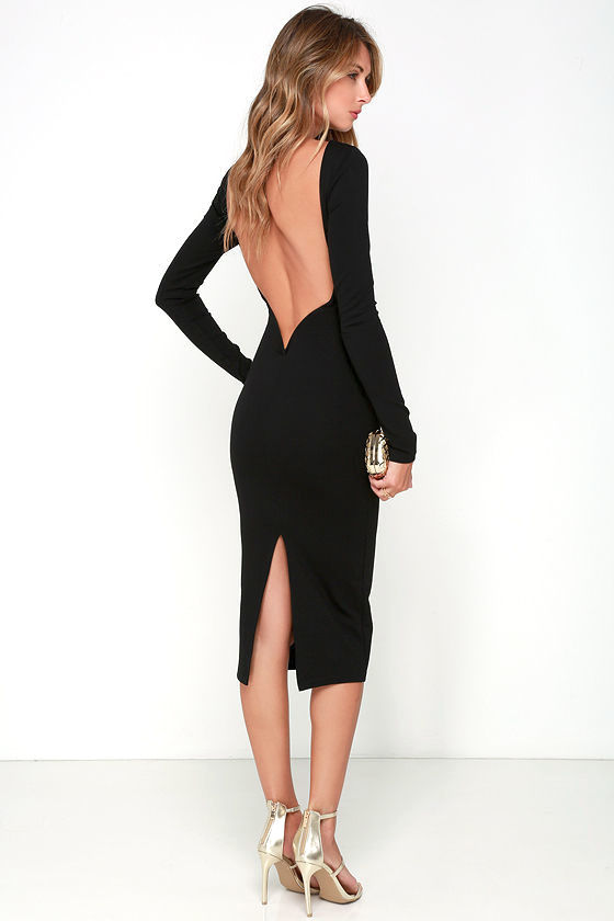 Sexy Black Midi Dress - Backless Dress - Bodycon Dress - $46.00