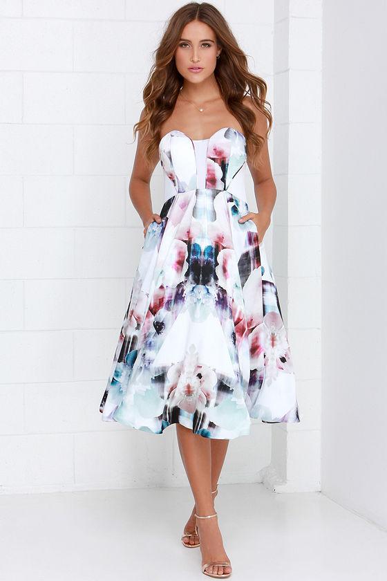 Gorgeous Floral Print Dress - Midi Dress - Floral Gown - $298.00
