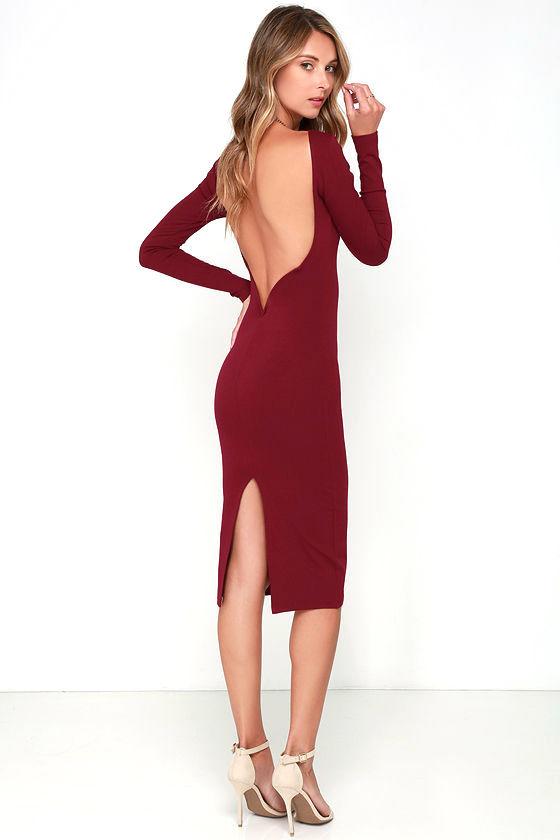 Sexy Wine Red Midi Dress Backless Dress Bodycon Dress