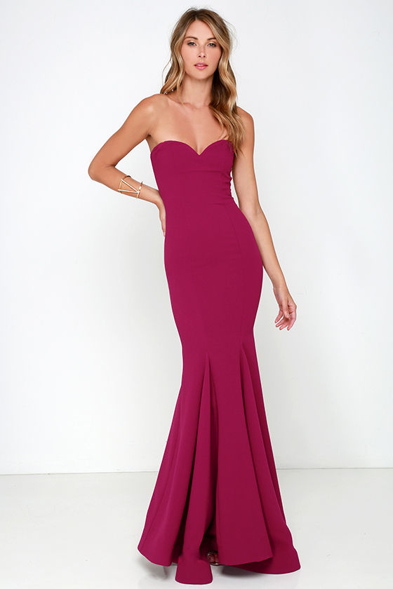 Chic Wine Red Dress - Strapless Dress - Maxi Dress - $205.00