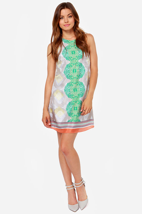 Aryn K Silk Shake Green Print Silk Dress at Lulus.com!