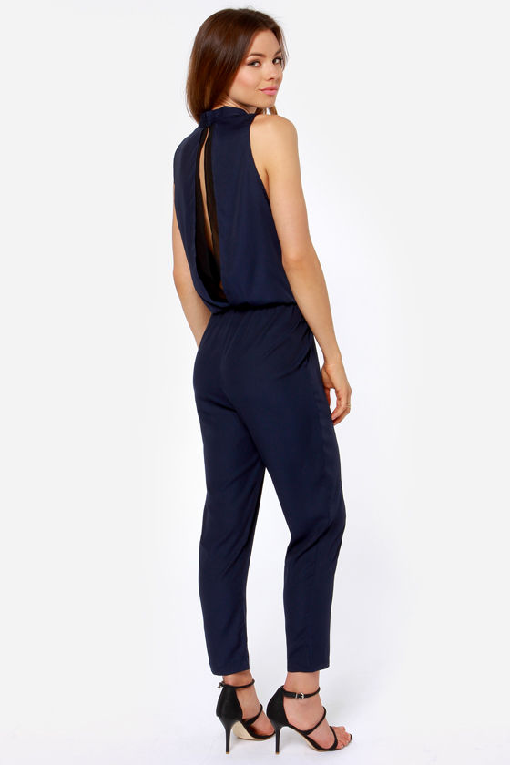 Aryn K Pack a Plunge Ink Blue Jumpsuit at Lulus.com!