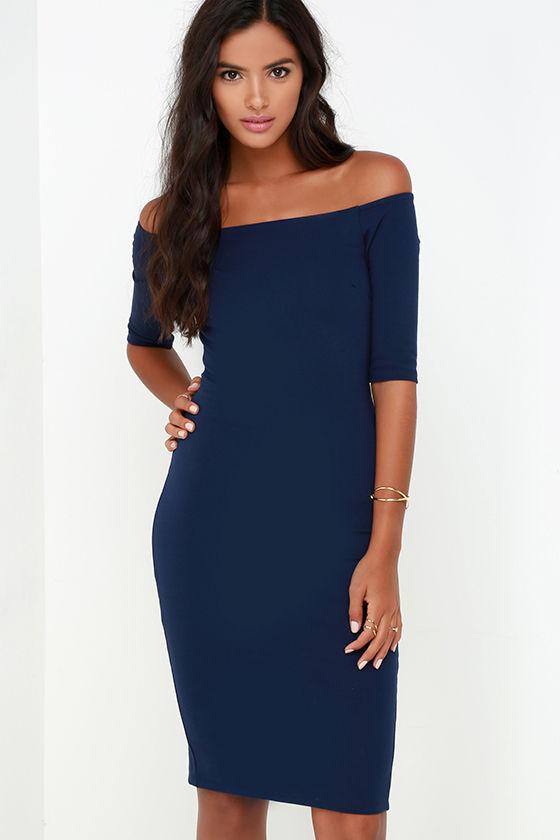 Blue Off the Shoulder Midi Dress