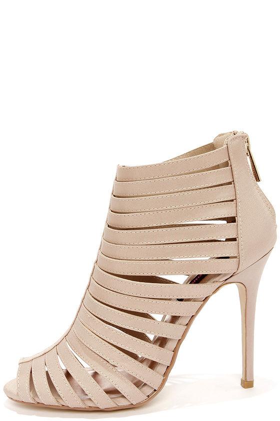 Sexy Nude Heels - Caged Heels - Peep Toe Heels - $42.00