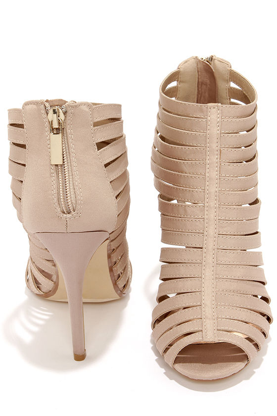 Nude Caged Heels