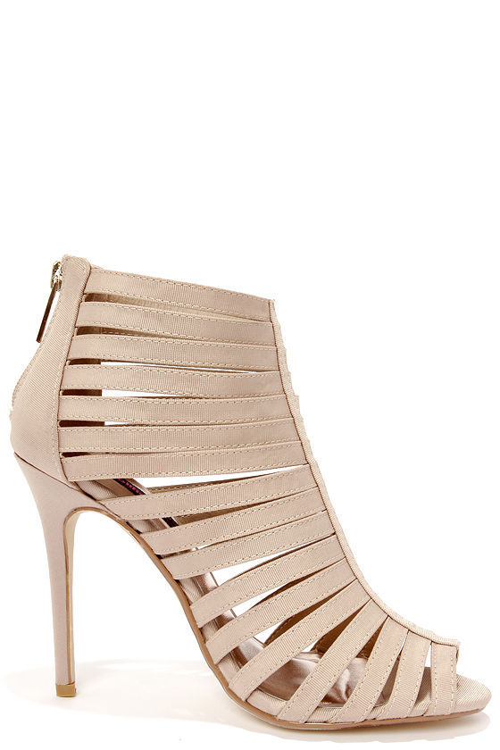 Dollhouse Teaser Nude Caged Peep Toe Heels at Lulus.com!