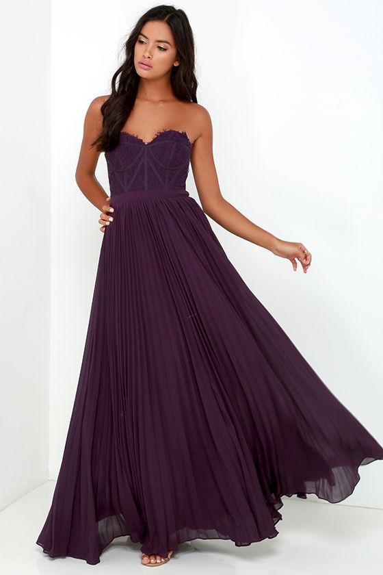 Bariano Dress - Elegant Purple Dress - Lace Dress - Maxi Dress ...