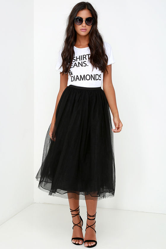 Tulle Skirt - Black Skirt - High-Waisted Skirt - $78.00