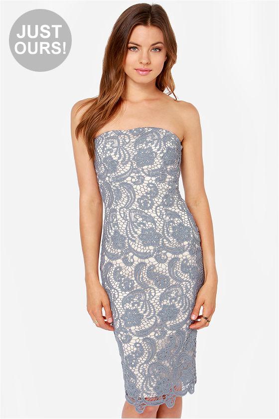 Pretty Lace Dress - Grey Dress - Strapless Dress - Midi Dress - $42.00