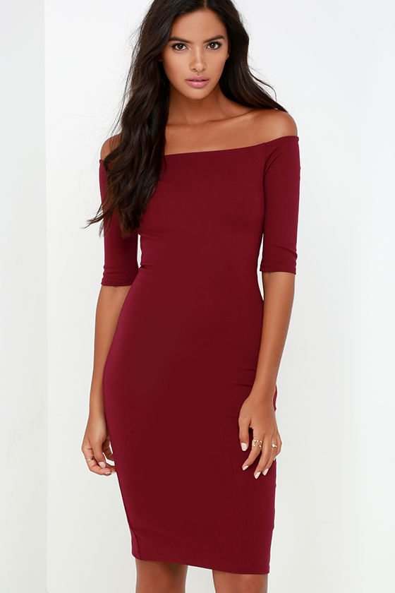 7b55a28aa013 Chic Wine Red Dress - Off-the-Shoulder Dress - Midi Dress -  52.00