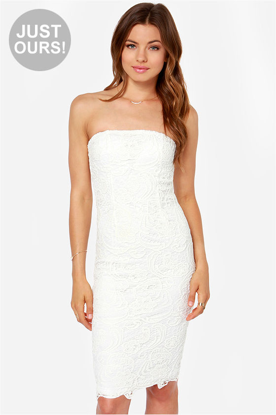 Pretty Lace Dress - Ivory Dress - Strapless Dress - Midi Dress ...