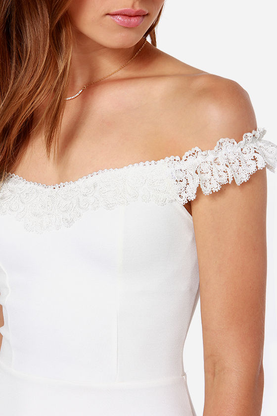 Coy Story Off-the-Shoulder Ivory Dress at Lulus.com!