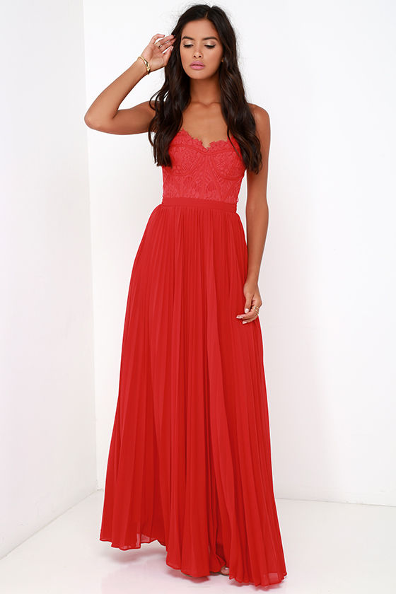 Bariano Dress Elegant Red Dress Lace Dress Maxi