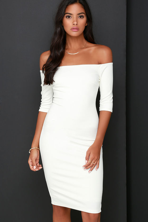 Chic Ivory Dress - Off-the-Shoulder Dress - Midi Dress - $52.00