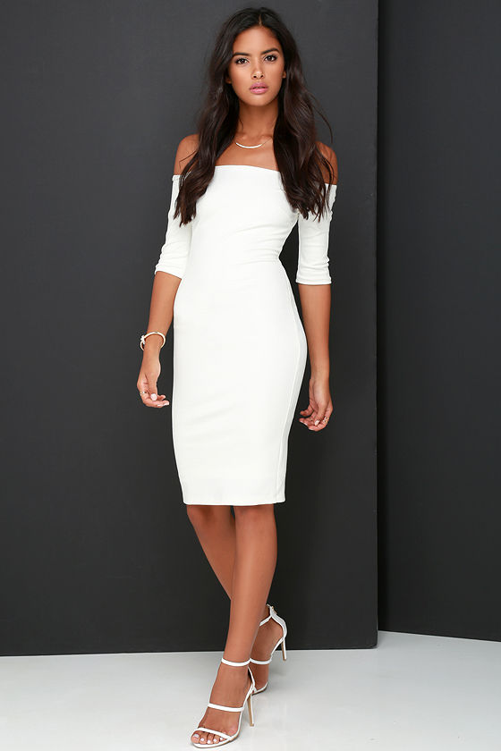 Girl Can't Help It Ivory Off-the-Shoulder Midi Dress 3