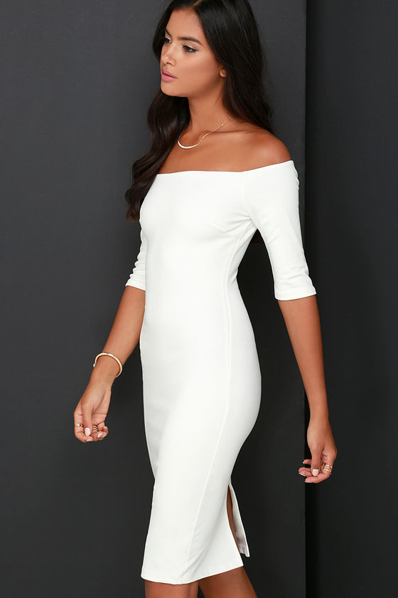 Girl Can't Help It Ivory Off-the-Shoulder Midi Dress 4