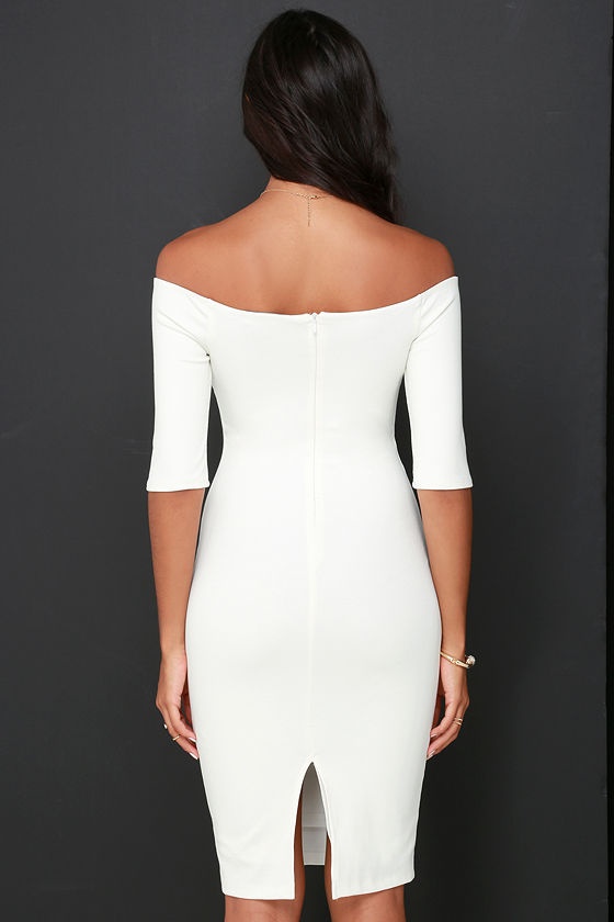 Girl Can't Help It Ivory Off-the-Shoulder Midi Dress 5