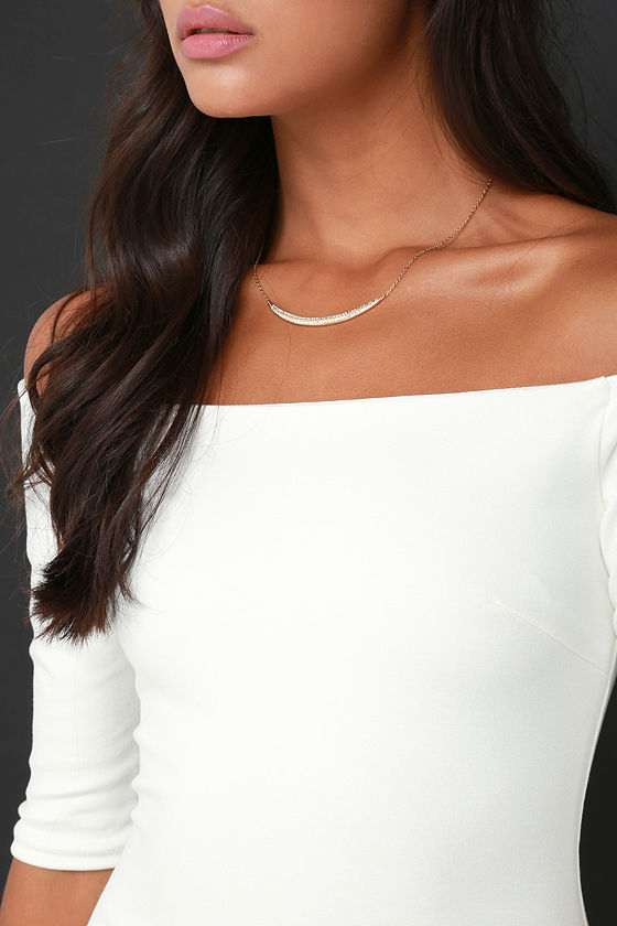 Girl Can't Help It Ivory Off-the-Shoulder Midi Dress 6