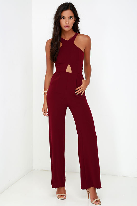 Sexy Wine Red Jumpsuit - Cutout Jumpsuit - Sleeveless Jumpsuit ...