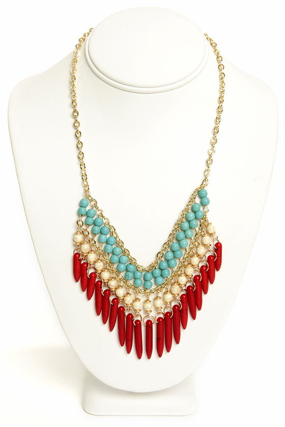 Playing Coy Red Beaded Necklace at Lulus.com!